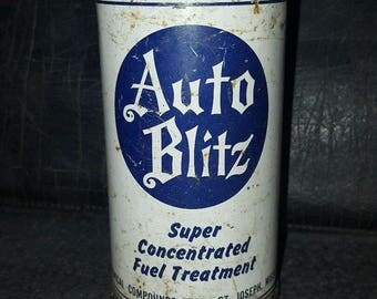 Vintage Gas & Oil Service Station STP Auto Blitz Concentrated Treatment Can