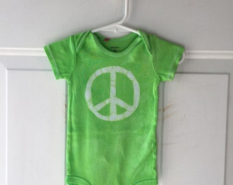 Green Peace Sign Bodysuit (12 months), Peace Sign Baby Bodysuit, Peace Baby Gift, Green Baby Gift, Gender Neutral Baby Gift, Hippie Baby