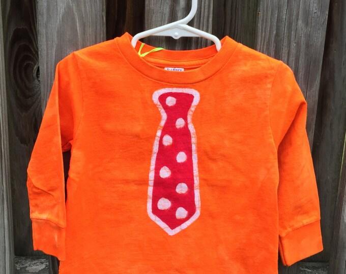 Kids Shirt with Tie, Kids Tie Shirt, Boys Tie Shirt, Necktie Shirt, Funny Kids Shirt, Orange Tie Shirt, Red Tie Shirt, Girls Tie Shirt (2T)