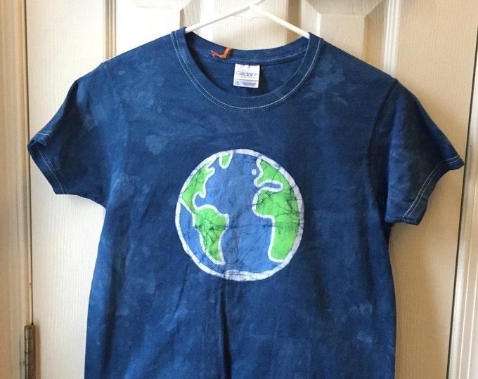 Earth Day Shirt, Ladies Earth Day Shirt, Womens Earth Day Shirt, Batik Earth Shirt, Planet Earth Shirt, Globe Shirt (Ladies S)