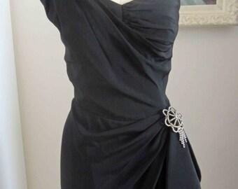 Dorothy O'hara Rare One Shoulder 50's Designer Wiggle Dress with Sash and Pin