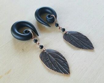 Cooper Leaf Gauged Earrings Plugs with Black Matte Stones
