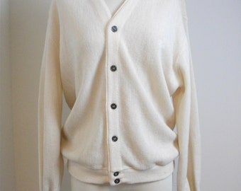 Cream Izod Lacoste Golf Cardigan, Size Large