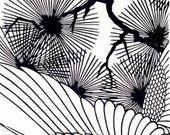 Japanese Tenugui Towel Cotton Fabric, Crane, Bird, Japanese Traditional Pattern, Hand Dyed Fabric, Wall Art Hanging, Wall Decor, wf120