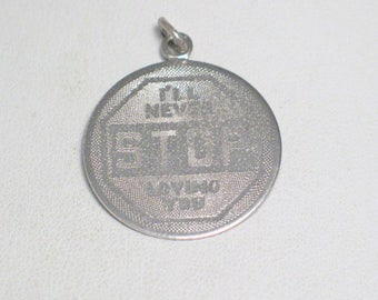silver charm pendant disc tag Sterling silver ill never stop loving you quote statement love medallion 4 bracelet necklace fine jewelry