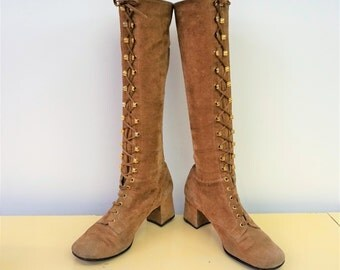 1960s Go Go Boots Mod Boots Knee High Lace Up Boots Brown Tan Suede Leather Boots Low Heel Go Go Dancer Size 6.5 E2096