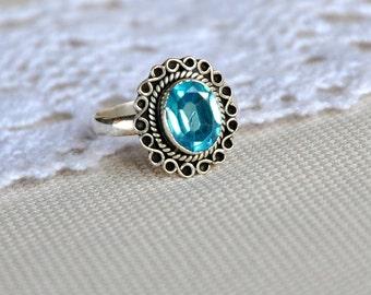 Swiss Blue topaz ring, bezel set ring, vintage sterling ring, everyday wear ring