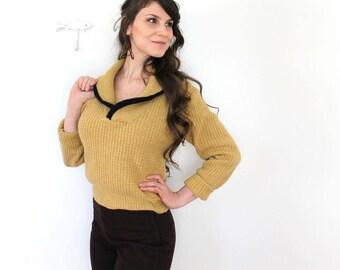 1950s Wool Knit Sweater / 50s Mustard Wool Sweater