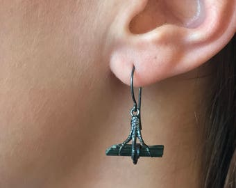 Crystal Bough Bird Foot and Raw Green Tourmaline Crystal Earrings in Oxidized Sterling Silver