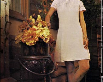 Download instantly - Knitting Pattern Womens Dress - Sizes 10 - 18 Dress size - PDF