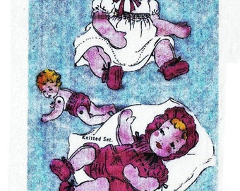 PDF Download - Stuffed Cloth Baby Doll - Moveable head and limbs PLUS Knitting patterns for layette