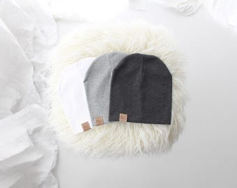 Toddler slouch beanie in grey, charcoal, or white | slouch beanie | toddler beanie | warm slouch | beanie | cozy newborn hat | slouch hat