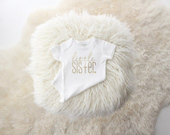 metallic gold little sister bodysuit | Big sister little sister| little sister shirt | gold little sisiter | new baby girl