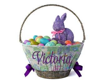Personalized Easter Basket Liner, Easter Toile, Basket not included, Monogrammed Easter basket liner, Custom basket liner with name