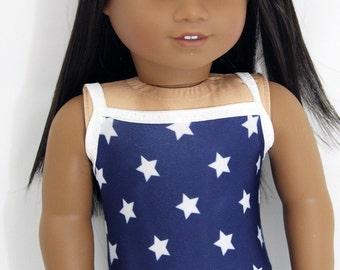 "Patriotic Star Swimsuit for 18"" Dolls Such as American Girl"