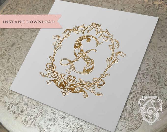 Wedding Crest Vintage Initial S Wreath Crest Digital Download