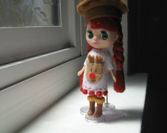 Petite Blythe, LPS Blythe, Mini Pullip, Little Dal Fashion Doll Clothing; Rudolph Red-Nosed Reindeer Dress