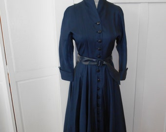 Vintage 1950s Navy Blue Dress