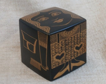 Vintage Purbeck Pottery Bank, Cube Girl, Mid Century Modern Made in England, Money Box Coin Bank