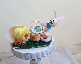 Tiny Easter Diorama, Chenille Chicken, Bunny, and Basket of Glittered Eggs, Easter Decor Supply, Spring Chickens