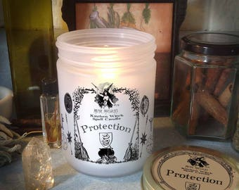 Protection Kitchen Witch Candle Jar, Herb Dressed Candle Included
