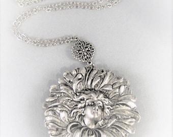 Flora Goddess,Flower Locket,Spring Locket,Floral,Locket,Silver Locket,Girl,Goddess,Antique Locket,Night,Woodland,Jewelry,valleygirldesigns.