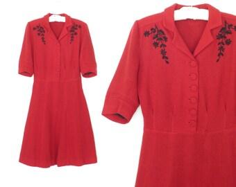 Vintage 40s Dress * Embroidered 1940s Dress * Red Wool Dress * Medium / Large