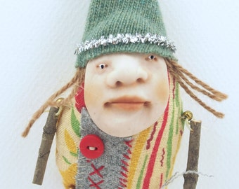 Folk Art Doll Ornament holiday christmas coth clay miniature doll #59