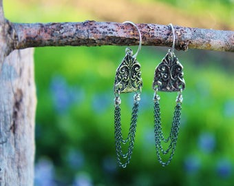 Victorian Inviciti Charm & Chains Earrings, Handmade Jewelry, Boho Chic Earrings, Wearable Art, Handcrafted Artisan Sterling Silver Earrings