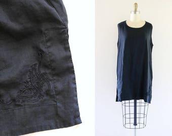 embroidered linen sack tunic / mini - xl