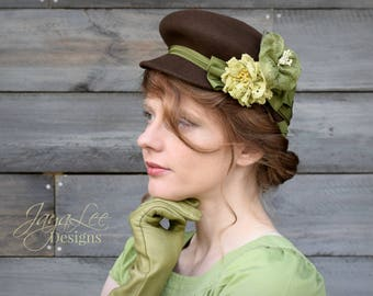 Percher Hat Green and Brown 1940's Style Fascinator