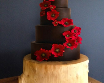 Cake Stand Tree Stump Slice Holiday Centerpiece Display Mount