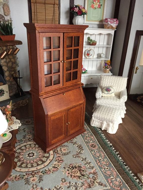 Miniature Bookshelf Desk With Glass Doors Inside Cubbies and Lower Doors, Walnut Book Case, Dollhouse Miniature Furniture, 1:12 Scale,