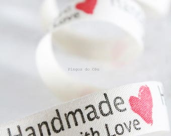 1.5 cms width - Zakka Cotton Ribbons - Handmade With Love Label - DIY Accessory - Sewing Ribbon - Ready to Ship