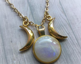 SALE Rainbow Moonstone Triple Goddess necklace, Gold tone