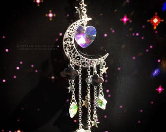 Moon Crystal Rainbow maker Sun catcher with stars, clouds, and Saturn