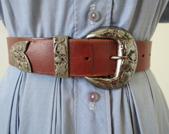 "Vintage Oxblood Brown Leather Belt with Large Silver Buckle - 29 to 33"" Waist Made in Argentina"
