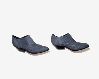 Vintage Ankle Boots 8.5 / Gray Leather Winklepickers / Ankle Boots Women / Leather Ankle Boots / Nubuck Leather Booties