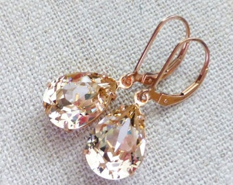 Champagne Rose Gold Earrings, Swarovski Silk 14K Rose Gold Filled Leverbacks, Leverback Earrings, Rhinestone Crystals, Bridesmaid Gifts