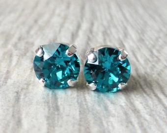 Blue Zircon Swarovski Stud Earrings, Crystal Rhinestone Stud Earrings, Post Earrings, Silver Round Crystal Studs, Gift for Her, Bridesmaids