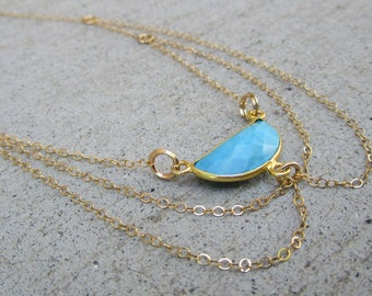 Turquoise Gold Crescent Harness Necklace