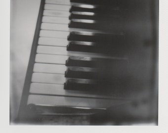 Piano Black and White Photography Original Instant Photo - Decorate with a vintage feel - Free Domestic Shipping