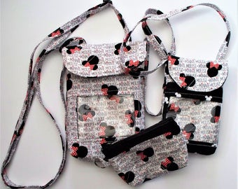 Quilted Disney Minnie Mouse Cross Body Purse, Black Red and White,Mini or Regular Pouch,Coin Purses,Your Choice,RTS,Minnie Mouse Name