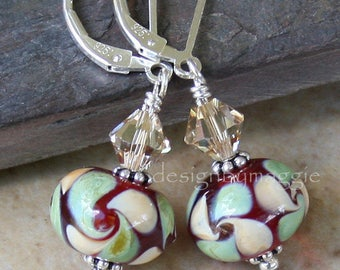 Lampwork Earrings Glass Crystal Swarovski Elements Beads Red Yellow Green Sterling Silver Leverbacks Lever Backs