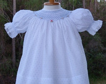 Baby Rose Smocked Bishop with Slip  Ready to Ship