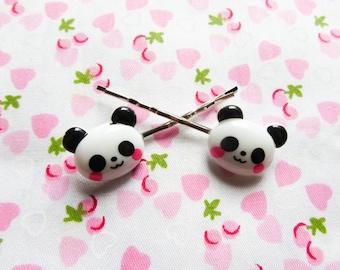 Kawaii Panda Bear Bobby Pins/ Hair Pins, Panda, Kawaii, Cute Bobby Pins/ Hair Pins, Teen/ Girls Gift
