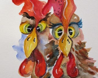 Two Crossed Eyed Roosters 12x9 original chicken watercolor painting Art by Delilah