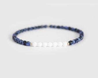 Lapis Blue and White Beaded Bracelet - Gold Filled or Sterling Silver - Naeva