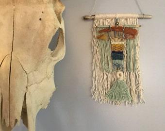 Blue, White, Mustard + Indigo Weaving Wall Hanging with Wood, Macrame + Tassels