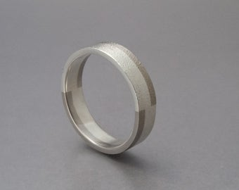 Modern Mixed Metals Wedding Band - 4.5mm Flat Unisex Wedding Ring in 950 Palladium and Sterling Silver
